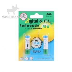 باتری نیم قلمی قابل شارژ digital C.F.L-AAA با ظرفیت ۱۳۵۰mah بسته ۲ عددی