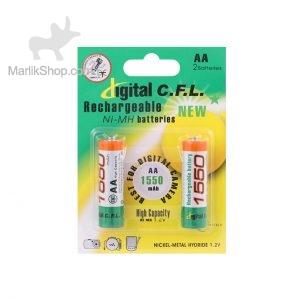 باتری قلمی قابل شارژ digital C.F.L-AA با ظرفیت ۱۵۵۰mah بسته ۲ عددی