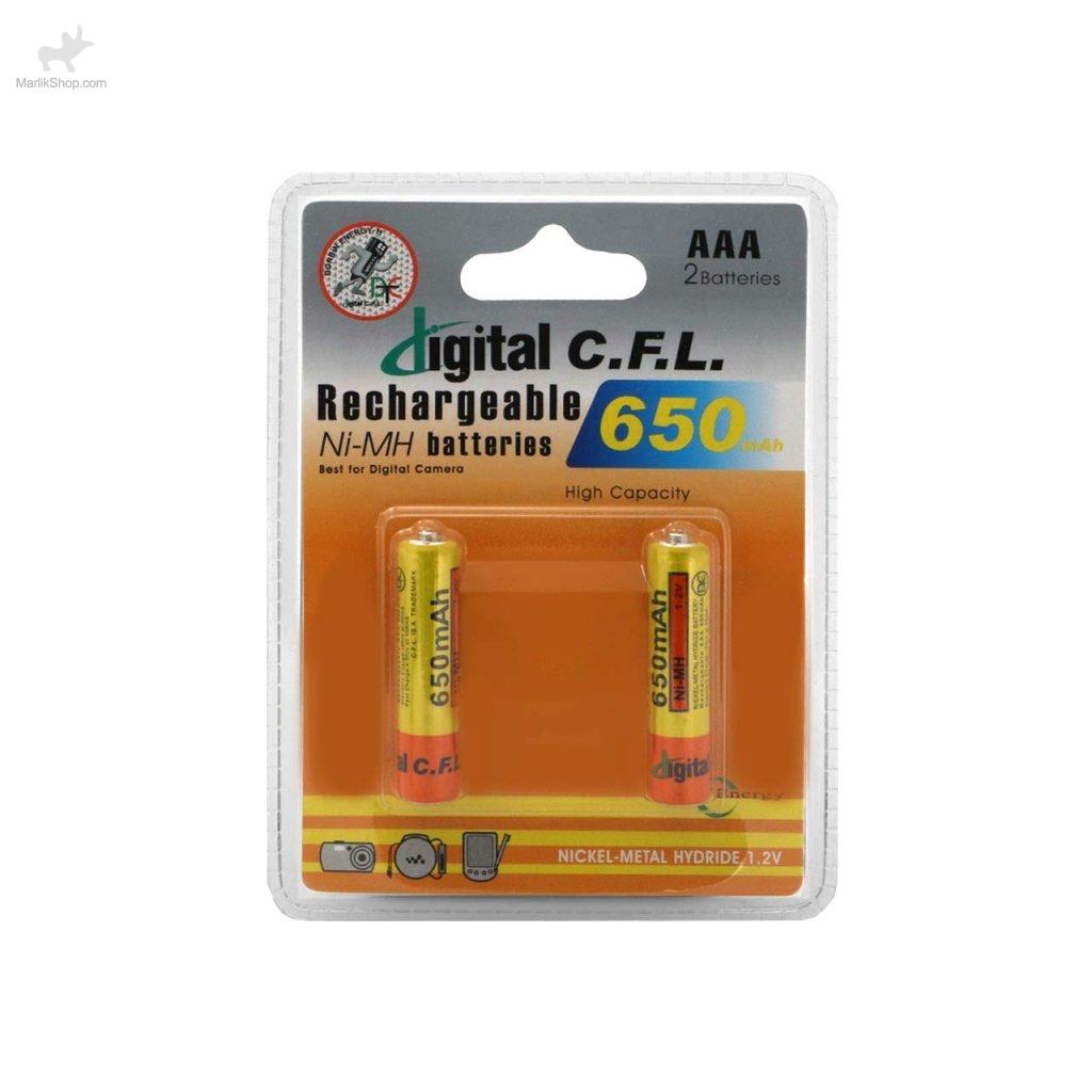 باتری نیم قلمی قابل شارژ digital C.F.L-AAA با ظرفیت ۶۵۰mah بسته ۲ عددی