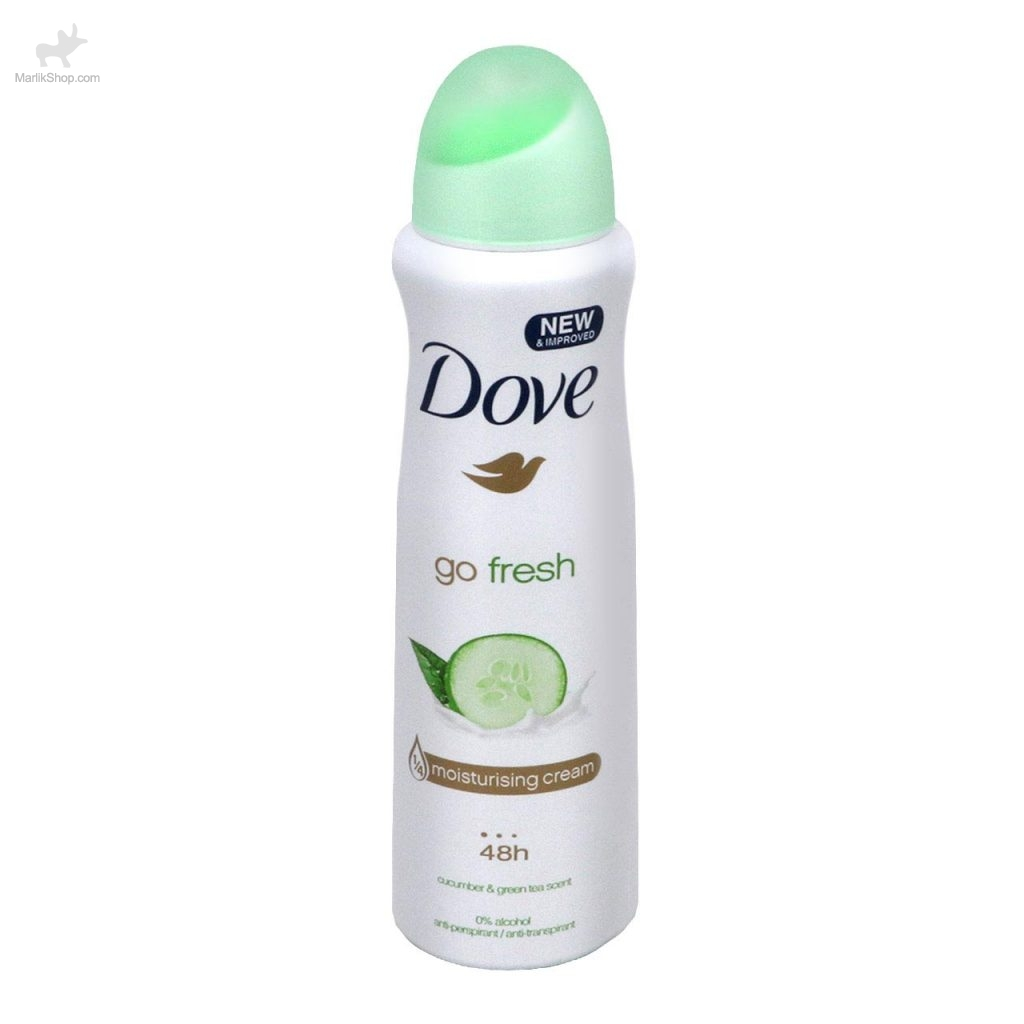 اسپری زنانه Dove مدل go fresh cucumber & green tea Scent حجم ۱۵۰ml