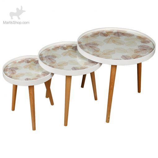 میز عسلی لوتوس سه تیکه مدل spring-Leaves کد ALMA-731 رنگ WH