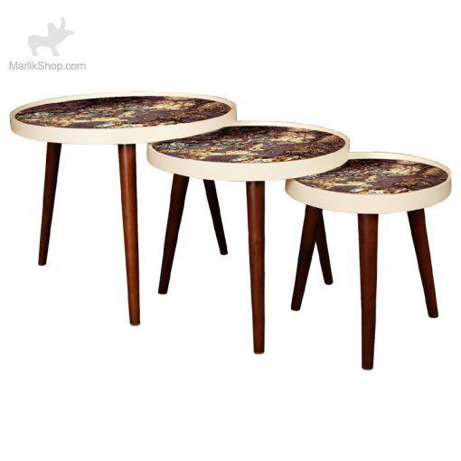میز عسلی لوتوس سه تکه مدل ALMA کد MARBLE-731