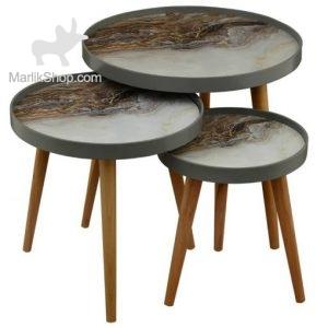 میز عسلی لوتوس سه تکه مدل ALMA کد LUCCA-731 رنگ GRAY
