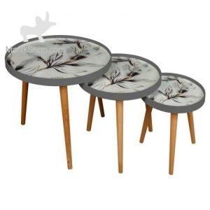 میز عسلی لوتوس سه تیکه مدل WHITE ASH کد ALMA-731 رنگ GREY