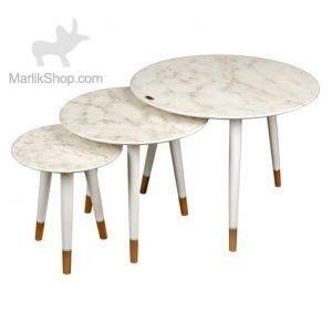 میز عسلی لوتوس سه تیکه مدل DELFINA کد T-738 رنگ WG