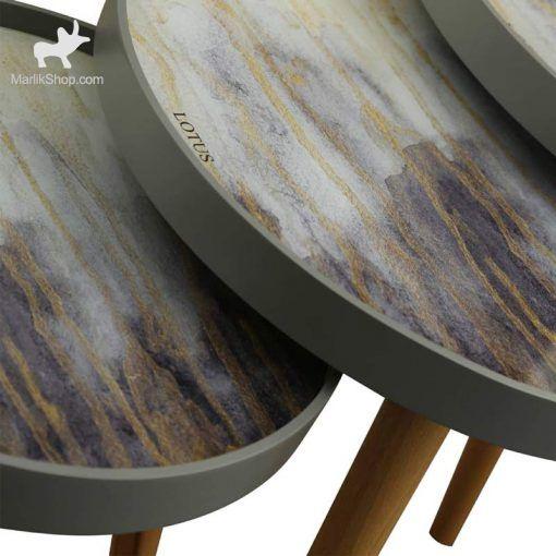 میز عسلی لوتوس سه تکه مدل ALMA کد CAPRI-731 رنگ GRAY