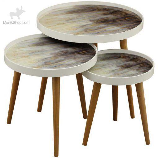 میز عسلی لوتوس سه تکه مدل ALMA کد CAPRI-731 رنگ WHITE