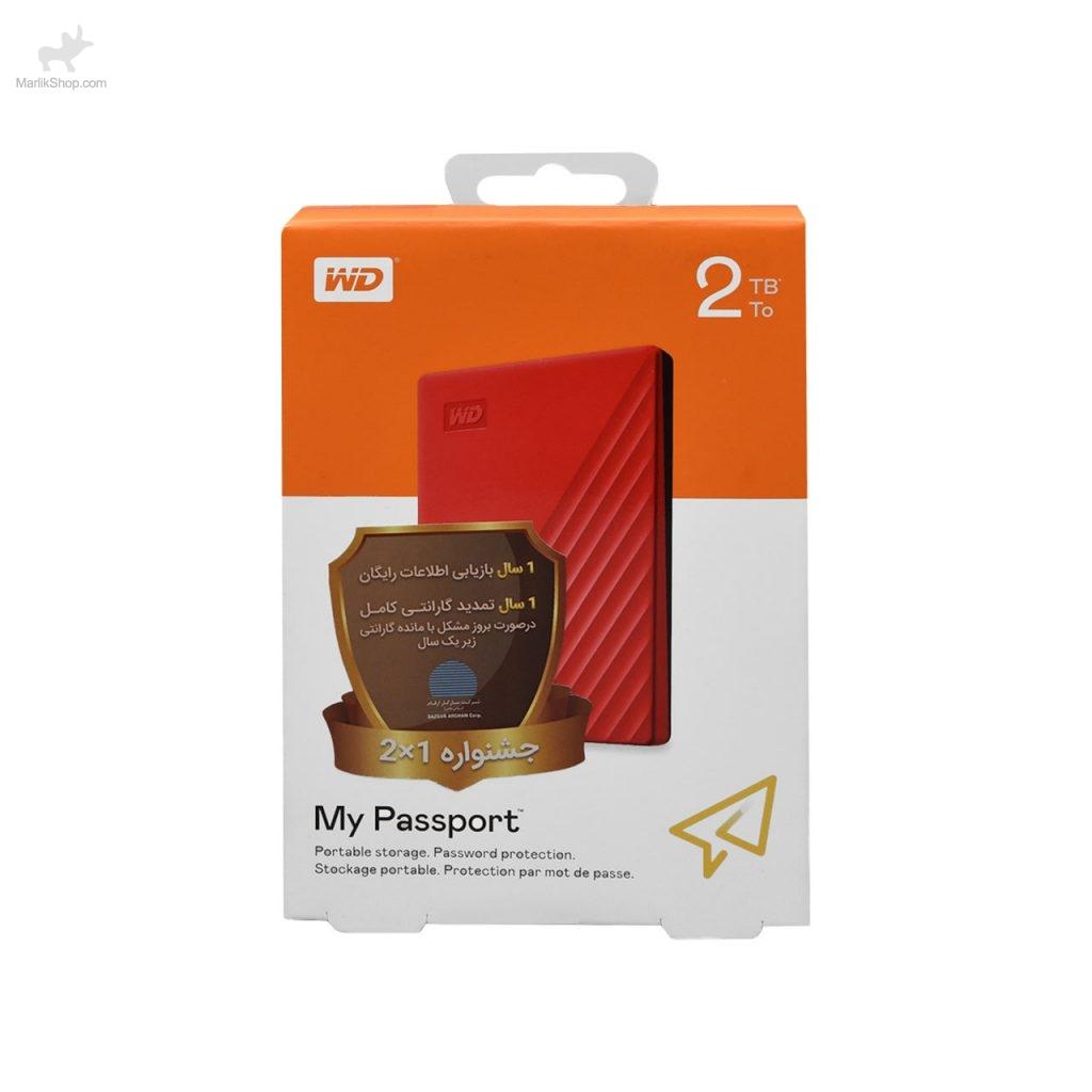 هارد اکسترنال Western دیجیتال مدل My Passport WDBYVG0020BRD-WESN ظرفیت ۲TB-قرمز